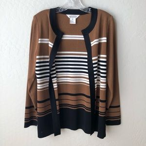 Exclusively Misook Colorblock Open Front Cardigan